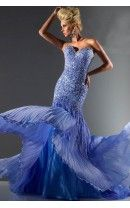 Sweetheart A Line Beaded Bodice Floor Length Bright Blue Luxurious Prom Dress
