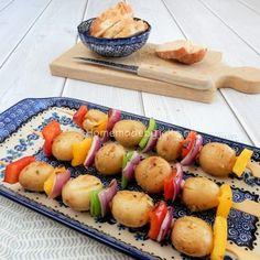 Aardappelspiesjes met groente voor op de barbecue