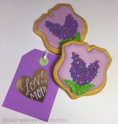 mother's day cookie | royal icing | lilac flower | gold luster dust