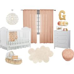 Baby Girl Peach, Gold & White Nursery by nmmsh5 on Polyvore featuring interior, interiors, interior design, home, home decor, interior decorating, Fisher Price, Victoria Classics, Thro and Pilepoil