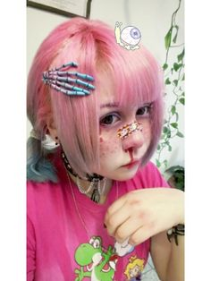 "Kawaii make-up Elfgutz inspiration pastel pink hair/ pastel blue hair"" blood skull hand"