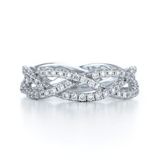 Three row woven diamond ring in 18K white gold. Alternate colors and metals available. Style No. 14382