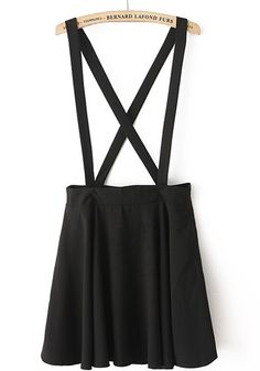 Black Plain Shoulder-Strap Polyester Dress