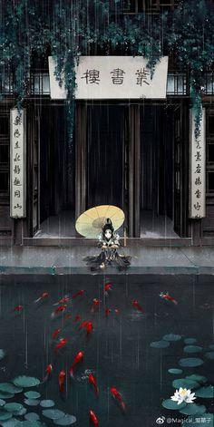 Koi n umbrella Asian Wallpaper, Wallpaper Backgrounds, Fantasy Kunst, Fantasy Art, Graphisches Design, Art Asiatique, Anime Kunst, Anime Scenery, Jolie Photo
