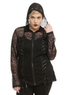Steampunk plus jacket, Tripp Black Floral Lace Girls Hoodie Plus Size $54.50 AT vintagedancer.com