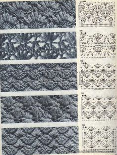 Some vintage looking stitches here, pictures and charts only. if you click on them they'll enlarge enough to see the symbols.