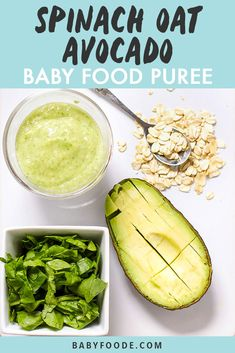 Even Popeye would be proud of this Oats Spinach Avocado Baby Food Puree with its mighty amount of calcium iron Vitamin A and B protein iron and good fat needed for your baby to grow and thrive. Easy to make and easy to eat - this puree has it all. Avocado Baby Food, Healthy Baby Food, Avocado Baby Puree, Baby Puree Recipes, Pureed Food Recipes, Butternut Squash Baby Food, Baby Food Recipes Stage 1, Baby Food Combinations, Making Baby Food