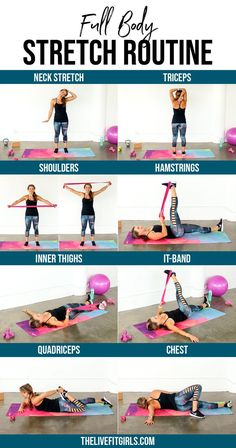 Full Body Stretch Routine Lengthen every major muscle with this quick full body stretch routine Increase your flexibility with these daily stretching exercises homeworkouts womenshealth workoutsforwomen Hiit Workout Routine, At Home Workout Plan, Yoga Routine, At Home Workouts, Daily Exercise Routines, Exercise Motivation, Exercise Schedule, Daily Stretches, Stretches For Flexibility