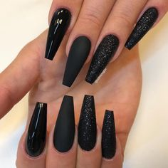 Nail - Super Pretty Long Black Nail Styles & Trends For Ready to wear the Shiny a. - - Super Pretty Long Black Nail Styles & Trends For Ready to wear the Shiny and cutest Nail styles? Try out this Amazing Black Long Nail Designs in. Long Black Nails, Black Acrylic Nails, Black Coffin Nails, Matte Nails, Long Nails, Black Glitter Nails, Black Nail Art, Black Wedding Nails, Black Chrome Nails
