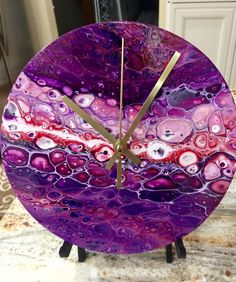 Abstract Annemarie Wall Clock Acrylic Pour Alcohol Ink