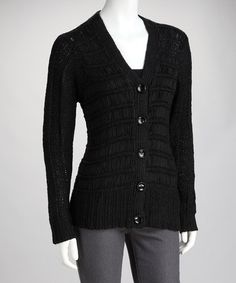 Take a look at this Black Stripe Knit Cardigan by High Secret on #zulily today!  Join the shopping list and I get credit!  Neat clothes and accessories for women and Kids!