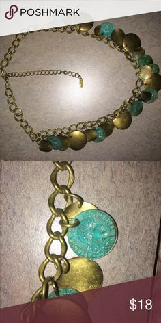 """Brushed gold and turquoise Coin Necklace 9"""" This unique necklace come on an antique  gold colored chain with turquoise coins. It's very beautiful and different. Jewelry Necklaces"""