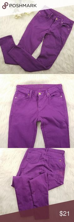 Kate Spade Play Hooky Skinny Jeans Preowned skinny jeans by Kate Spade. Purple color, with gold hardware, gold kate Spade emblem on back. No rips/pilling. Two faded areas on back (see pics). General wash wear. 98% cotton, 2% spandex. Size 27. Approx measurements: 14in waist; 30in inseam. kate spade Jeans Skinny