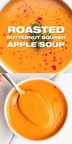 Butternut Squash Soup with Apple Recipe - Easy fall soup recipe with complex flavors. Healthy and delicious. Roasted Butternut Squash Soup with Apple Recipe - Easy fall soup recipe with complex flavors. Healthy and delicious. Apple Recipes Easy, Fall Soup Recipes, Blended Soup Recipes, Vitamix Soup Recipes, Veggie Soup Recipes, Fall Dinner Recipes, Chili Recipes, Lunch Recipes, Crockpot Recipes