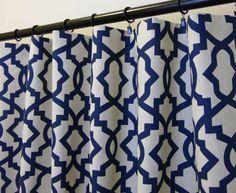 Navy Blue Curtains Sheffield Indigo Laken Panels 50 by SewPanache