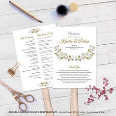 Wedding programs Printable fan programs by WeddingInvitationByC Fan Programs, Program Fans, Page Program, Diy Wedding Programs, Microsoft Word 2010, Program Template, Text Color, Programming, Place Card Holders