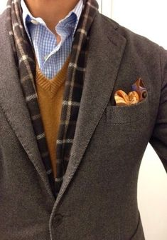 Men's Dark Brown Wool Blazer, Brown V-neck Sweater, Light Blue Gingham Dress Shirt, Brown Paisley Pocket Square