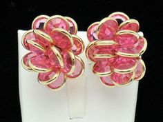 SWAROVSKI Gold Plated Pink Glass Rhinestone Cluster Clip  Earrings #Swarovski