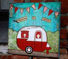 """Original mixed media """"Happiness on Wheels"""" painting."""
