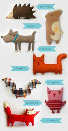 Sewing Toys This is supposed to be inspiration for kids making their own cuddly animals. They could also be great characters for kids to use in stories. I can almost hear their (animal) voices in my head! Sewing Toys, Sewing Crafts, Sewing Projects, Craft Projects, Sewing Ideas, Sewing Patterns, Felt Crafts, Fabric Crafts, Crafts For Kids