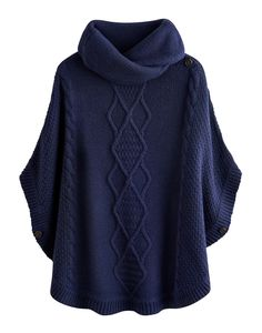 Joules Womens Knitted Poncho, French Navy.                     Combat the cold and stay as cosy as can be with this throw-over-anything poncho that features a cable knit detail.  This easy-to-wear knit has a shawl collar to keep draughts away from the neck too.