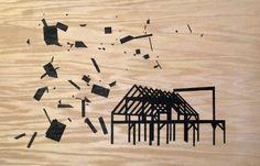 popped frame /  éclatée burnt wood #art #drawing