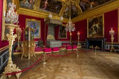 FCBTC / 1679-1715 - 'The Mercury Room', Versailles. Originally t royal bedchamber in t State Apartments. Tables, mirrors, andirons and magnificently chased chandeliers made in solid silver by the Gobelins silversmiths once decorated the walls, ceilings and fireplace, until 1689 when Louis XIV had to melt them down to finance the War of the League of Augsburg. The alcove was separated from the rest of the room by a balustrade, also in silver. Brocades – fabric made using gold and silver…