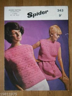 VINTAGE CROCHET PATTERN SPIDER 343 DK LADYS SUMMER DRESS AND TOP 36-44"