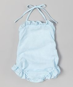 Love this Turquoise Seersucker Ruffle Swimsuit - Infant & Toddler by Smocked Gems on #zulily! #zulilyfinds