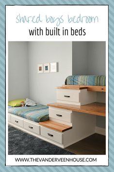 Shared boys bedroom makeover with built in beds #bunkbed #loftbed #reclaimedwood #transitional #greenandblue #chantillylace #homedepot #behr #storagedrawers #steps #ikeaframes #builtin #builtinbed #builtinstorage