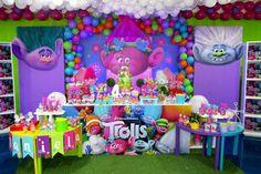 Princess Poppy Birthday Party, Baby Birthday Themes, Trolls Birthday Party, Troll Party, Baby Girl 1st Birthday, Frozen Birthday Party, Third Birthday, 3rd Birthday Parties, Birthday Party Decorations