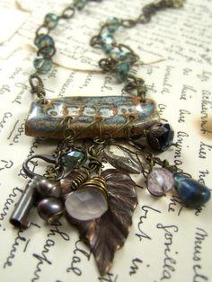 Boho Charm Necklace with Handcrafted Pottery Focal, Vintaj Brass, Vintage Skeleton Key & Gemstones