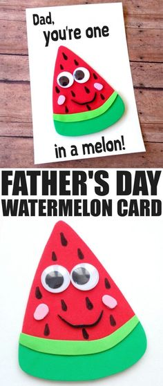 Father's Day is coming up and while it can be difficult to figure out what colour of tie to get for Dad for Father's Day, a hand made card is always going to be a hit. This DIY Father's Day Watermelon (Diy Geschenke Ehemann) Daycare Crafts, Toddler Crafts, Preschool Crafts, Fun Crafts, Crafts For Kids, Baby Crafts, Diy Father's Day Gifts, Father's Day Diy, Gifts For Dad