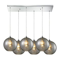 31380/6RC-SMK | Watersphere 6 Light Pendant In Polished Chrome And Smoke Glass - 31380/6RC-SMK