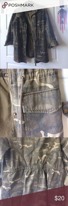 Charlotte Russe camo jacket Worn a handful of times. Adjustable waist. Charlotte Russe Jackets & Coats Utility Jackets
