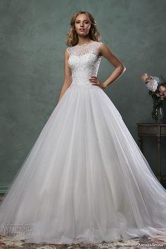 amelia sposa 2016 wedding dresses sleeveless bateau scallop neckline beaded bodice beautiful ball gown a line dress monica