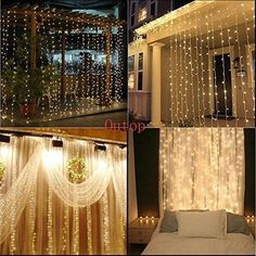 Outop304led Window Curtain Icicle Lights String Fairy Light Wedding Party Home Garden Decorations 3m3m (Warm white)