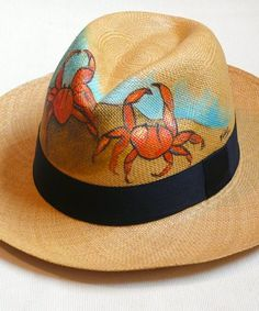 Shop Our Ecuadorian Panama Hats Painted Hats, Painted Clothes, Hand Painted, Drawing Bag, Trilby Hat, Western Chic, Silk Art, Diy Hat, Love Hat