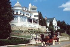 Mackinac Island, MI (no motors!) beautiful place. Worth the trip. You take a boat ride to get there.