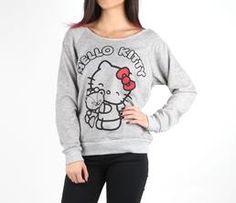 Hello Kitty Off Shoulder Sweatshirt: Grey