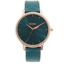 Nixon Lux Life Kensington Leather Watch ($125) ❤ liked on Polyvore featuring jewelry, watches, accessories, bracelets, leather wrist watch, nixon watches, nixon jewelry, dial watches and slim wrist watch