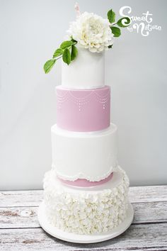 A Perfectly Pink Wedding Cake For Perfect Day Complete With Individually Hand Placed Blossom Ruffles Floral Swags And Topped Handcrafted Dahlias
