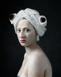 Hendrik Kerstens (Netherlands), Paper Roll, 2008 -portraits of his daughter, Paula -interest in Dutch painters of the 17th c -a number of the portraits are clearly reminiscent of Johannes Vermeer -conceptual and humorous dialogue between past and present