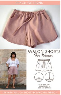 Peach Patterns Avalon Shorts for Women is a PDF sewing pattern for an easy-to-make pair of shorts. Pull-on with an elastic waistband, tie front, side pockets and a choice of three hem lines. These will be your new favourite shorts! NOTE: The Avalon Shorts Sewing Patterns Free, Sewing Tutorials, Clothing Patterns, Free Pattern, Sewing Projects, Short Pattern, Sewing Ideas, Sewing Clothes Women, Diy Clothing