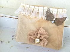Shabby Chic Wallet Clutch Accessories Cream Vintage by SweetMeas, $60.00