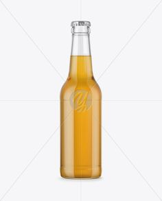 330ml Clear Glass Bottle with Lager Beer Mockup