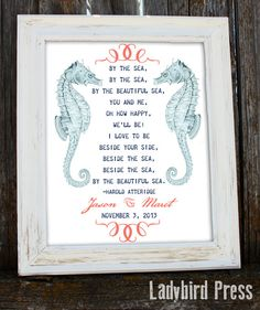 Personalized Wedding Gift, with a nautical theme, and such a beautiful poem, one of my favorites!