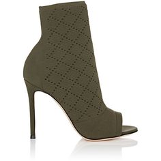 Gianvito Rossi Women's Perforated Knit Ankle Booties ($1,095) ❤ liked on Polyvore featuring shoes, boots, ankle booties, ankle boots, perforated ankle boots, bootie boots, open toe ankle booties, open toe ankle boots and high heel ankle boots