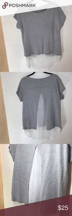 Anthropologie Eloise Tee/Tunic Top! Sz L Anthropologie Eloise Tunic Two Toned Top! •VGUC •Has chiffon style material under tee creating a tunic length top •Split back •Cotton poly blend •Super cute and comfy! Anthropologie Tops Tees - Short Sleeve
