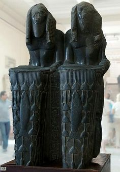 Double statue of Amenemhet lll as Nile God 160 cm high.